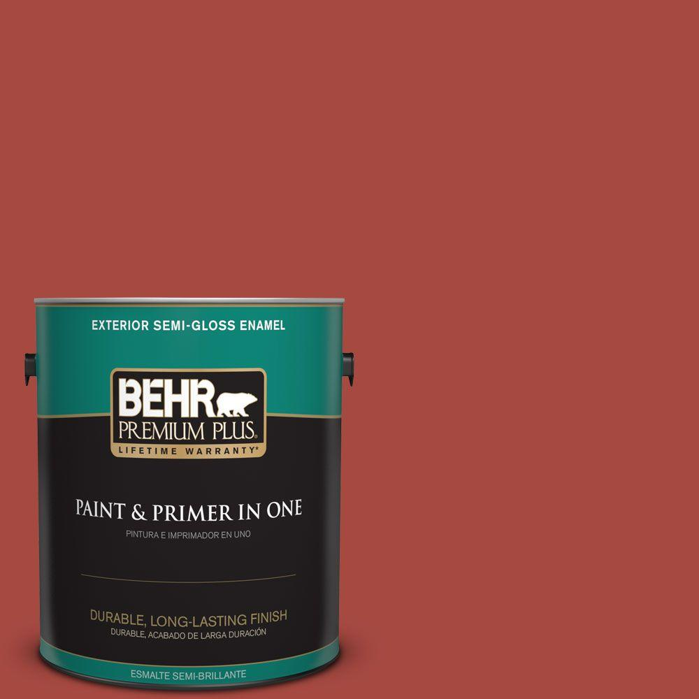 1-gal. #170D-7 Farmhouse Red Semi-Gloss Enamel Exterior Paint