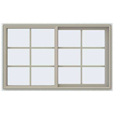59.5 in. x 35.5 in. V-4500 Series Right-Hand Sliding Vinyl Window with Grids - Tan