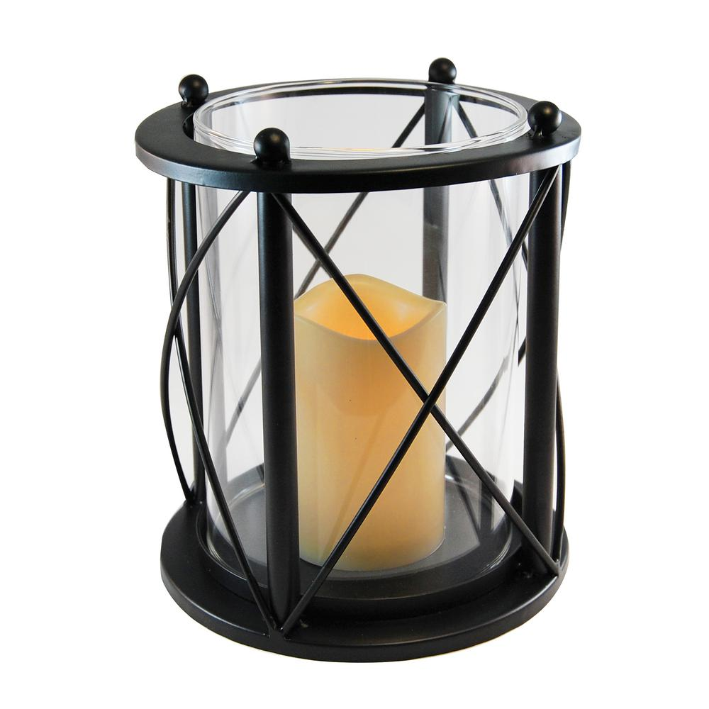 7.5 in. x 8.25 in. Black Round CrissCross Metal Lantern with LED Candle