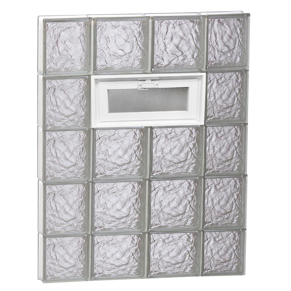 Clearly Secure 27 in. x 36.75 in. x 3.125 in. Frameless Ice Pattern Vented Glass Block Window
