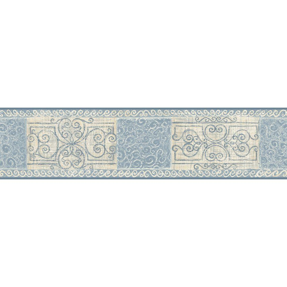 The Wallpaper Company 5.13 in. x 15 ft. Blue Pastel Scroll Tile Border