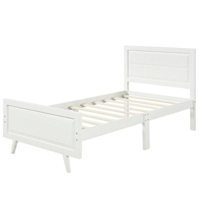 White Wood Platform Bed Twin Bed Frame Mattress Foundation with Headboard and Wood Slat Support