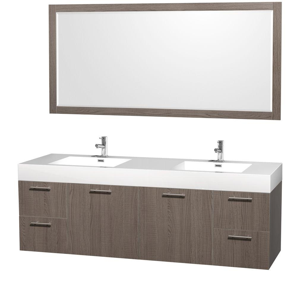 Wyndham Collection Amare 72 in. Double Vanity in Grey Oak with Acrylic-Resin Vanity Top in White and Integrated Sink