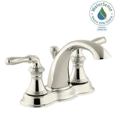 Devonshire 4 in. Centerset 2-Handle Mid-Arc Water-Saving Bathroom Faucet in Vibrant Polished Nickel