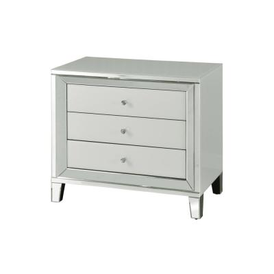 White with Faux Diamond Knobs Beveled 3-Drawer Wide Cabinet
