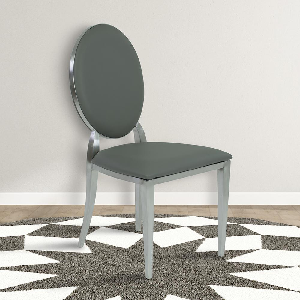 Gray Faux Leather And Brushed Stainless Steel Contemporary Dining Chair