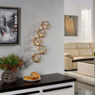 Sparkling Gold Metal Polyhedron Vertical Wall Candle Sconce