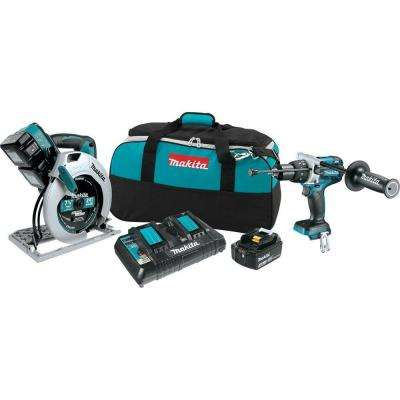 18-Volt LXT Lithium-Ion Brushless Cordless Circ Saw (36-Volt)/Hammer Drill Combo Kit (2-Piece) w/(3) 4Ah Batteries, Bag