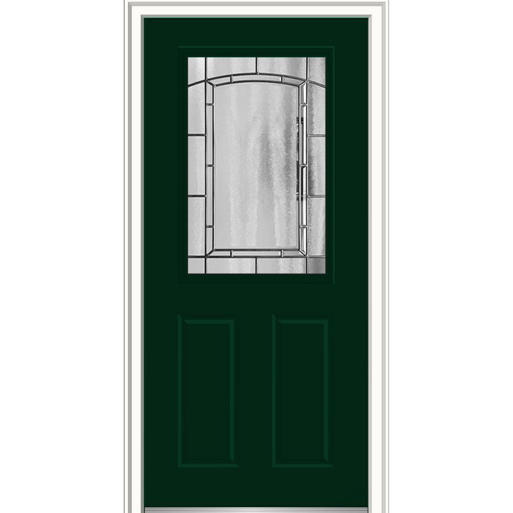 Mmi Door 32 In X 80 In Solstice Glass Right Hand 1 2 Lite 2 Panel Classic Painted Fiberglass