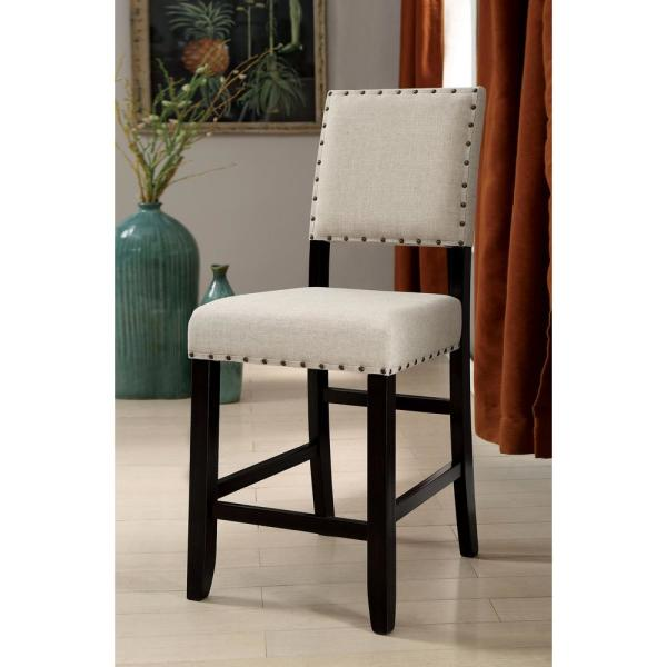 Furniture of America Ullen 25 in. Antique Black Upholstered Counter Height Chair (Set of 2)
