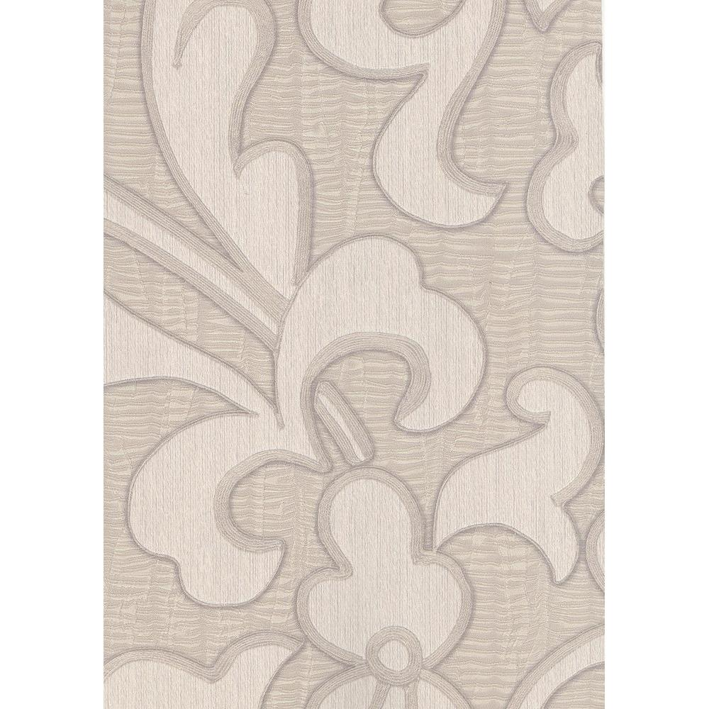 null 56 sq. ft. Contemporary Flower on a Pleated Texture Background Wallpaper in Gray