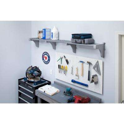 40 in. - 75 in. Metal Expandable Garage Shelf in Silver