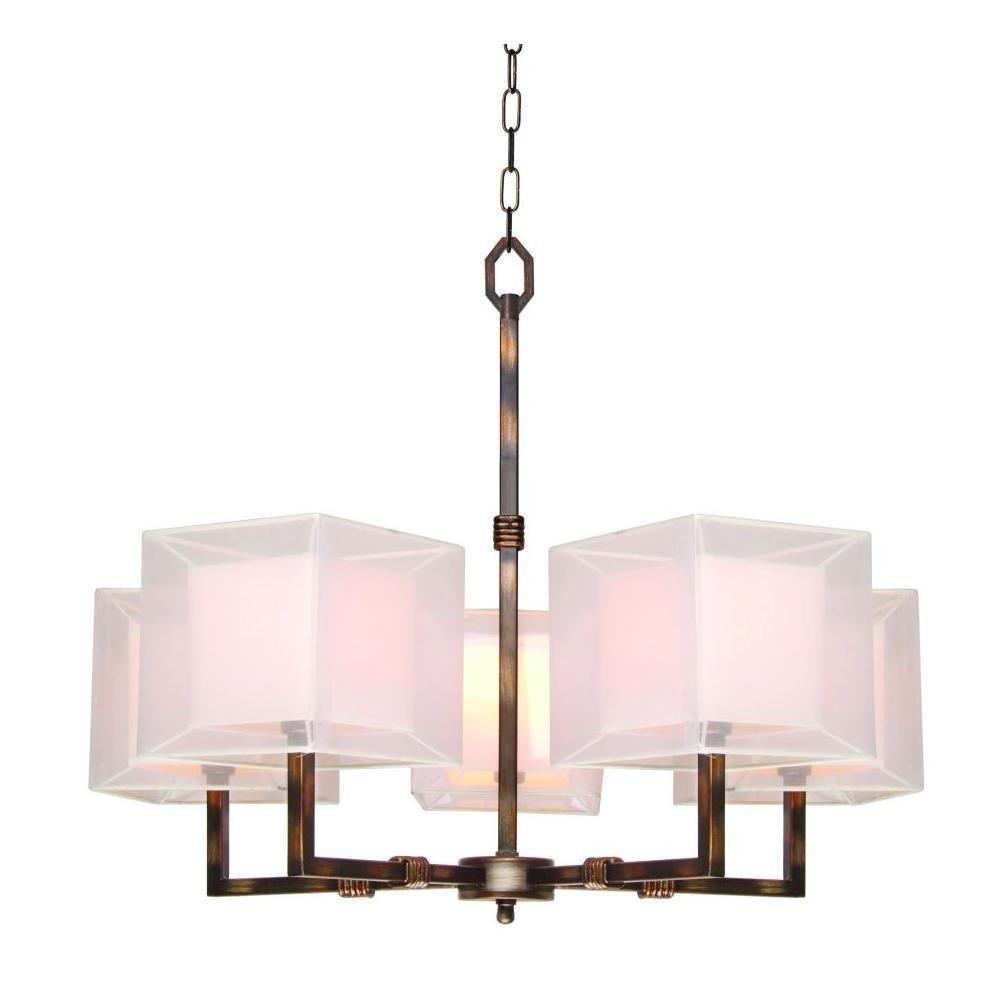 Hampton Bay Angelina 5-Light Hanging Rust Chandelier