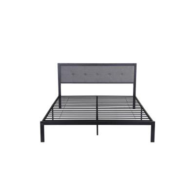 Haroun Contemporary Modern Queen-Size Flat Black Iron Bed Frame with Gray Upholstered Headboard