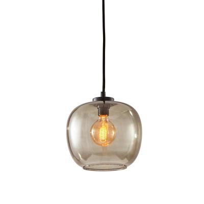 1-Light Mini Pendant with Clear Glass Black Accent