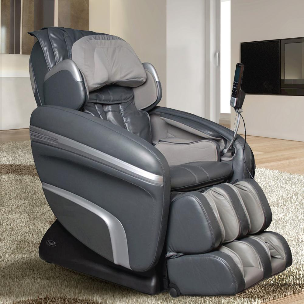 Charcoal Faux Leather Reclining Massage Chair Gray
