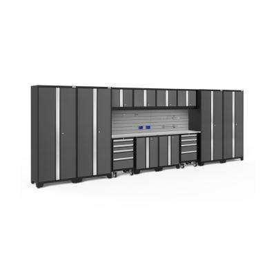 Bold Series 3.0 77.25 in. H x 216 in. W x 18 in. D 24-Gauge Steel Cabinet Set in Gray (14-Piece)
