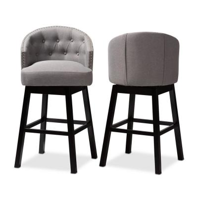 Theron 42 in. Gray and Espresso Bar Stool (Set of 2)