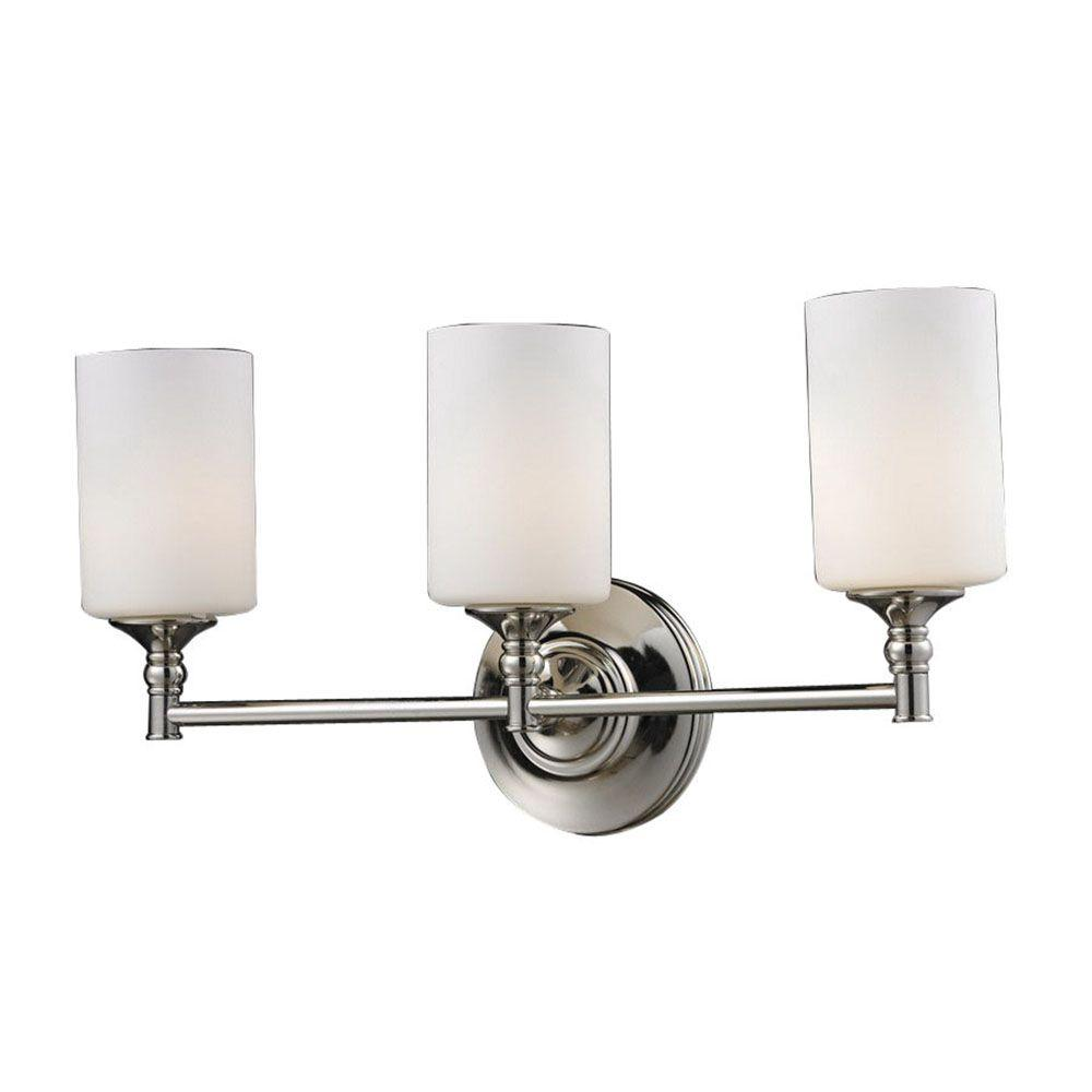 Filament Design Petra 3-Light Chrome and Matte Opal Bath Vanity Light with Matte Opal Glass
