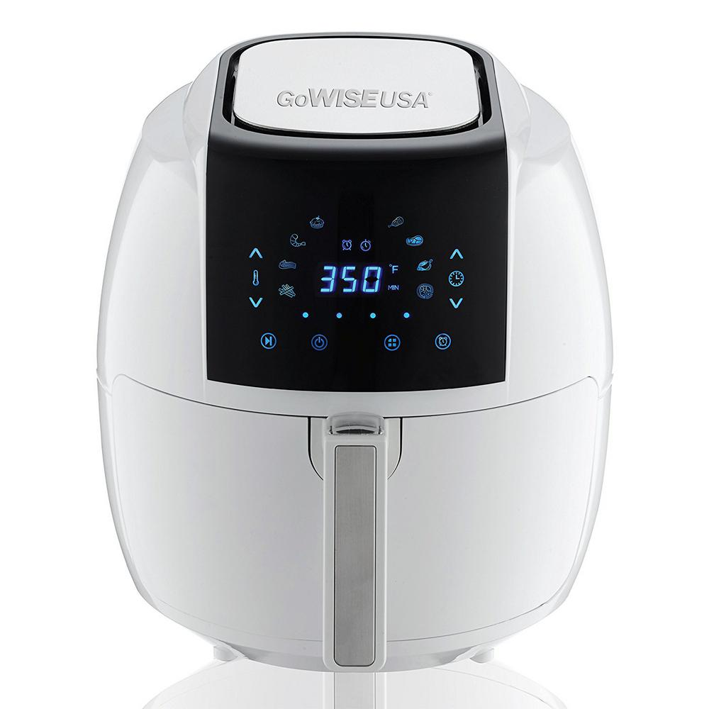 GoWISE USA 5.8 Qt. 8-in-1 Touch Screen White Air Fryer with Recipe Book