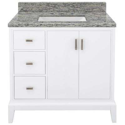 Shaelyn 37 in. W x 22 in. D Bath Vanity in White LH Drawers with Granite Vanity Top in Santa Cecilia with White Sink