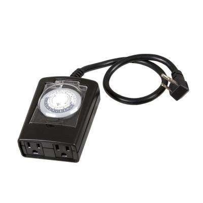 15 Amp Plug-In 2-Outlet Outdoor Mechanical Timer
