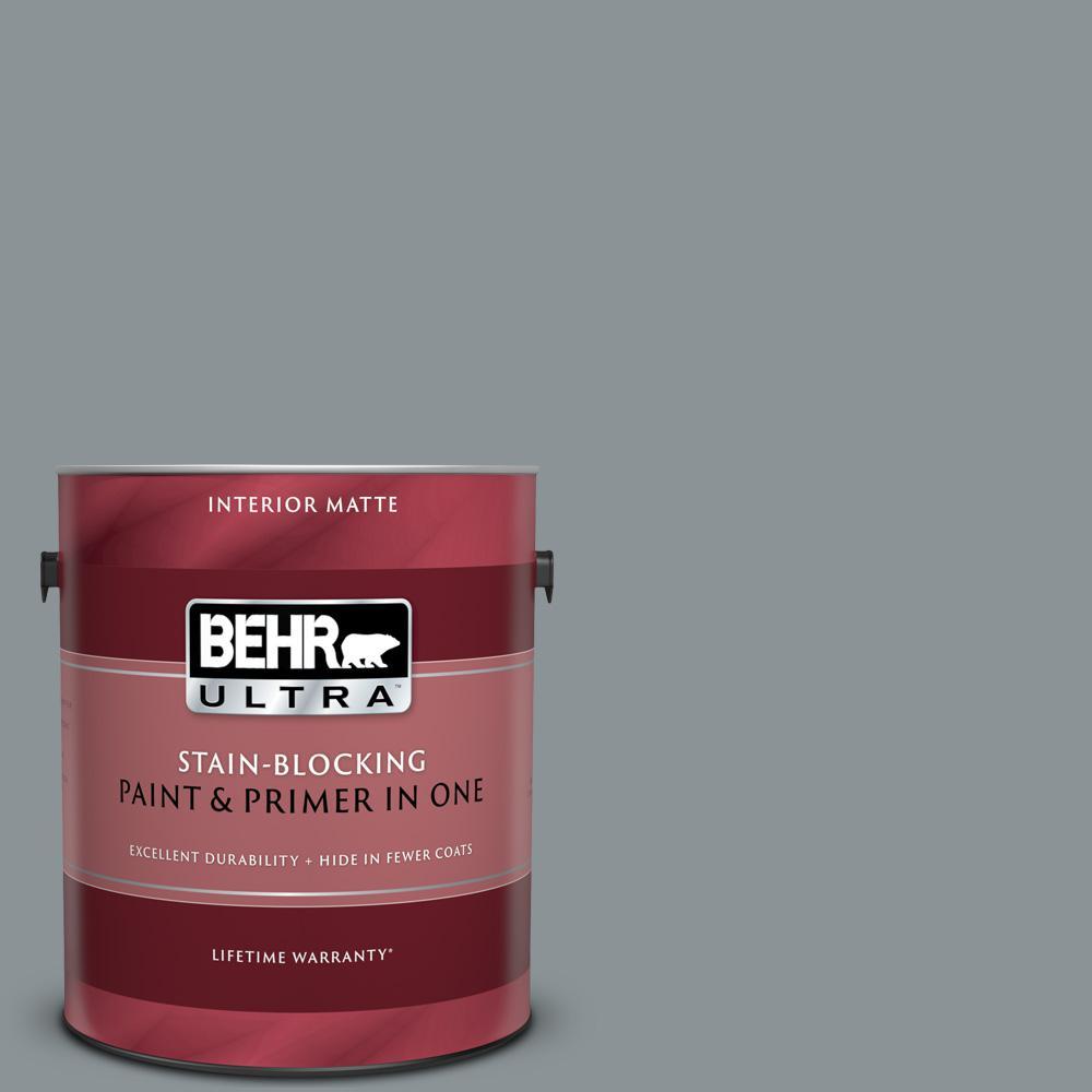 BEHR ULTRA 1 gal  Home Decorators Collection #HDC-NT-27 Millennium Silver  Matte Interior Paint & Primer