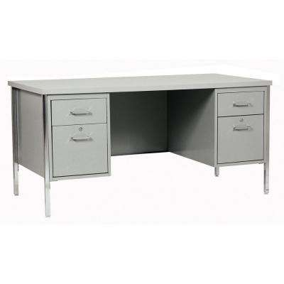 400 Series Double Pedestal Steel Desk in Gray