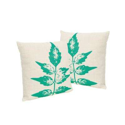 Sherman Beige and Green Square Outdoor Throw Pillows (Set of 2)