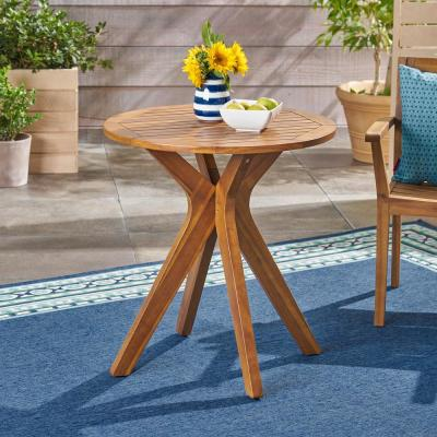 Stamford Teak Brown Round Wood Outdoor Bistro Table with X-Legs