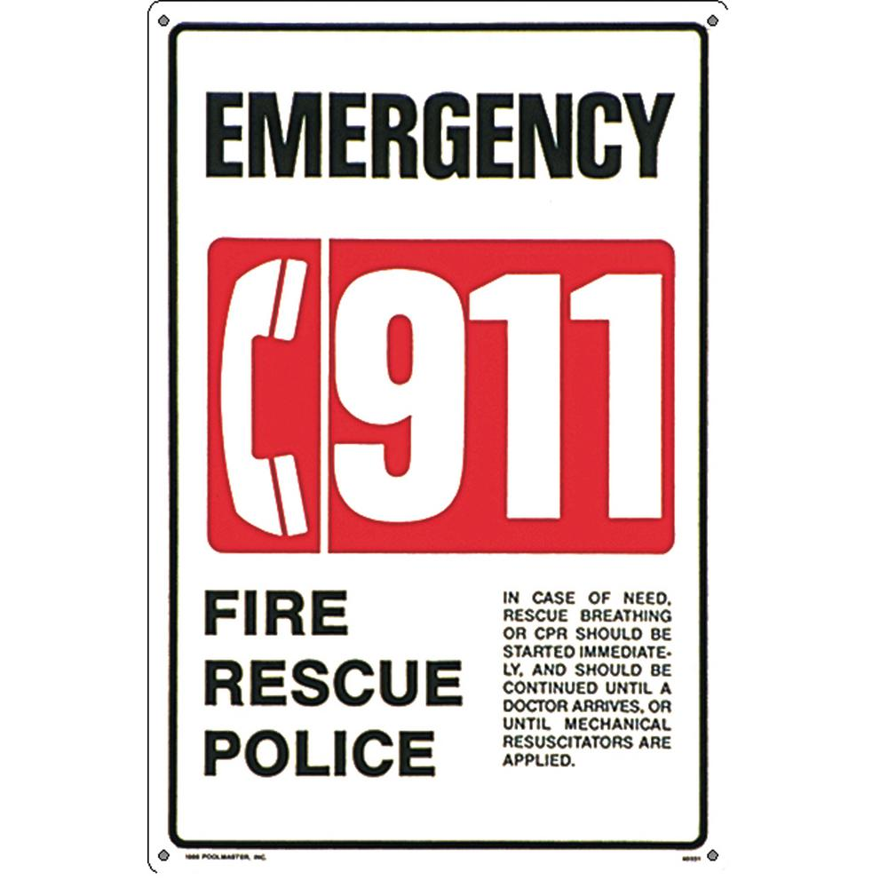 Poolmaster Residential or Commercial Swimming Pool and Spa Signs, 911  Emergency