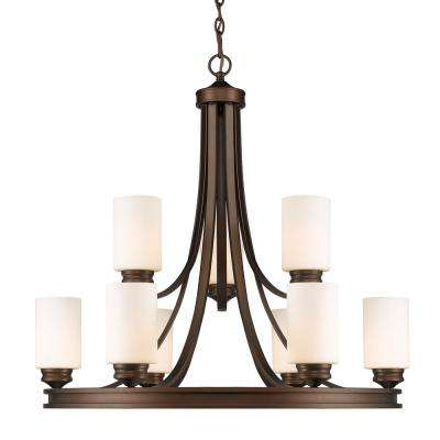 Holborn Collection 9-Light Bronze Opal Shade Chandelier