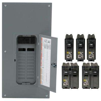 Homeline 200 Amp 20-Space 40-Circuit Indoor Main Breaker Plug-On Neutral Load Center with Cover - Value Pack