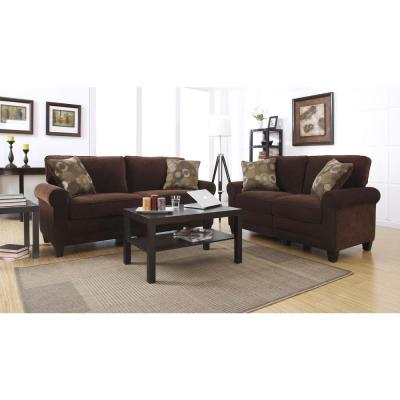 RTA Trinidad 61 in. Chocolate/Espresso Polyester 2-Seater Loveseat with Removable Cushions