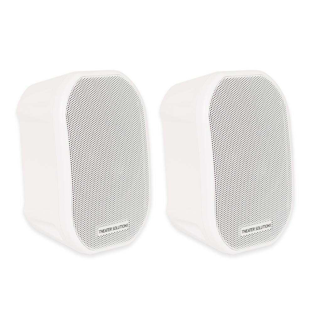 Mountable Indoor / Outdoor Speakers White Bookshelf Pair