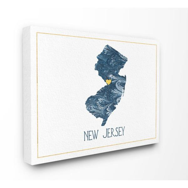 The Stupell Home Decor Collection 24 In X 30 In New Jersey Minimal Blue Marbled Paper Silhouette By Daphne Polselli Canvas Wall Art Cw 1466 Cn 24x30 The Home Depot