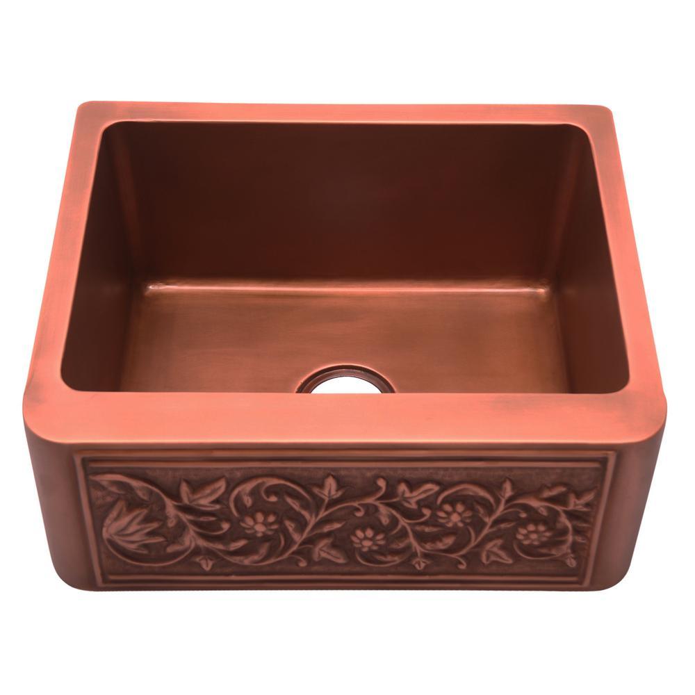 Cilantro Farmhouse Apron Front Copper 25 in. Single Bowl Kitchen Sink
