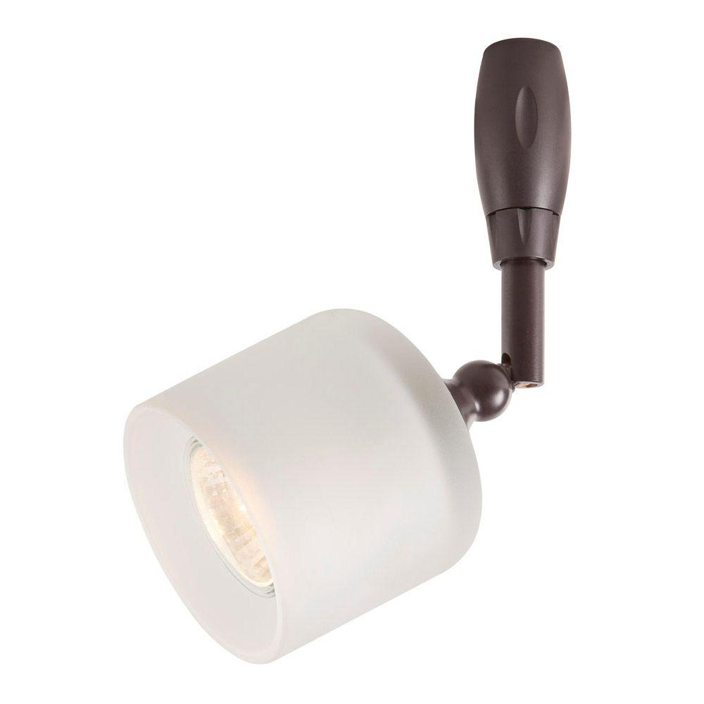 hampton bay bronze flex track lighting head with frosted glass shade