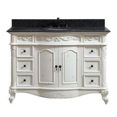 Provence 49 in. W x 22 in. D x 35 in. H Bath Vanity in Antique White with Granite Vanity Top in Impala Black with Basin