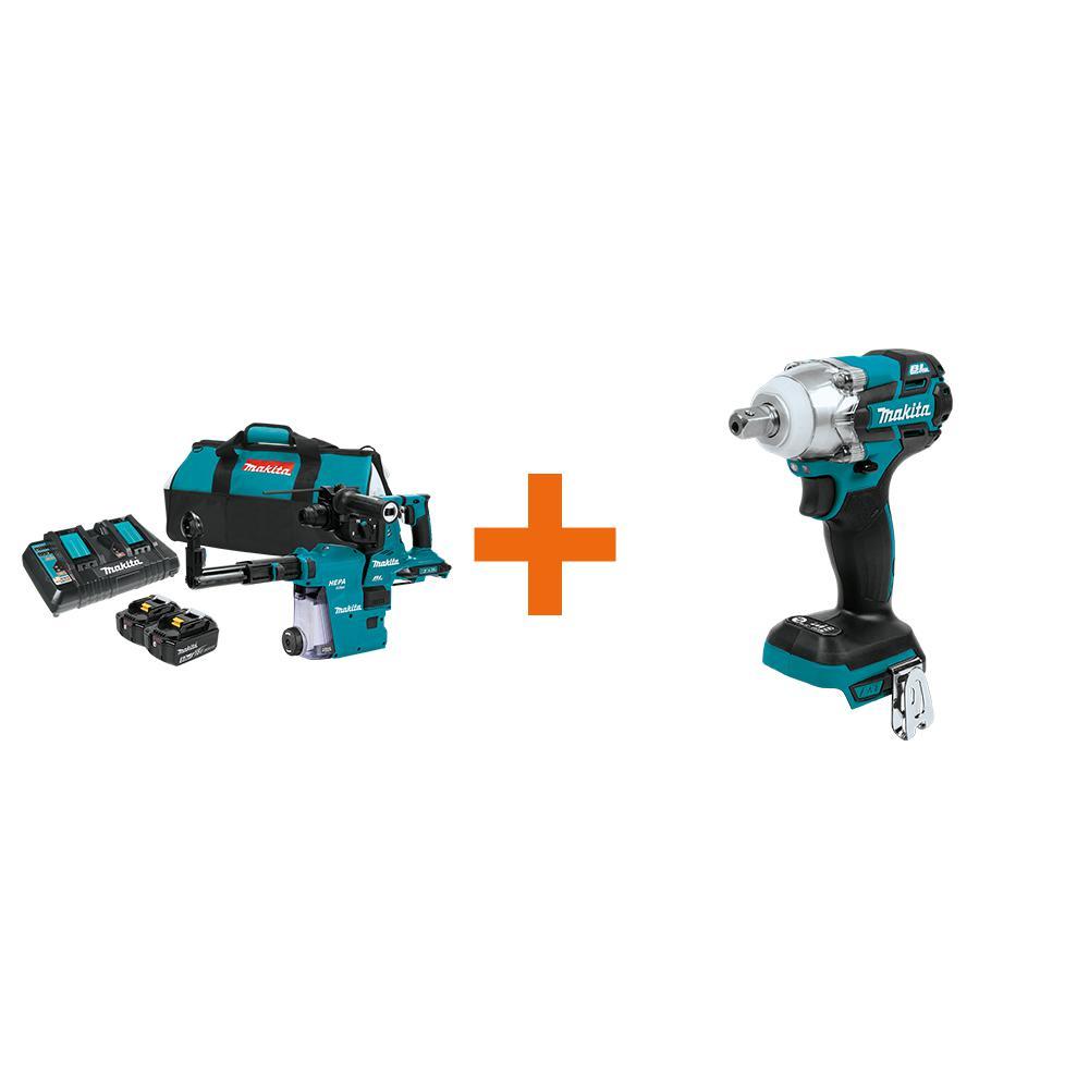 18V X2 LXT 36V 1-1/8 in. Brushless AVT Rotary Hammer Kit 5.0 Ah with bonus 18V LXT 3-Speed 1/2 in. Impact Wrench