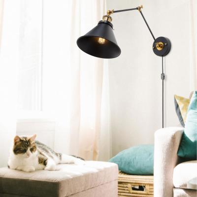 Adjustable 1-Light Modern Black and Gold Plug-In or Hardwire Industrial Swing Arm Wall Sconce with Bell Lampshade