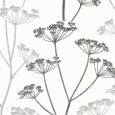 8 in. x 10 in. Albury Black Brasilia Flower Wallpaper Sample