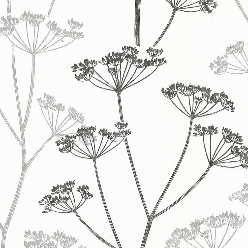 Brewster 8 in. x 10 in. Albury Black Brasilia Flower Wallpaper