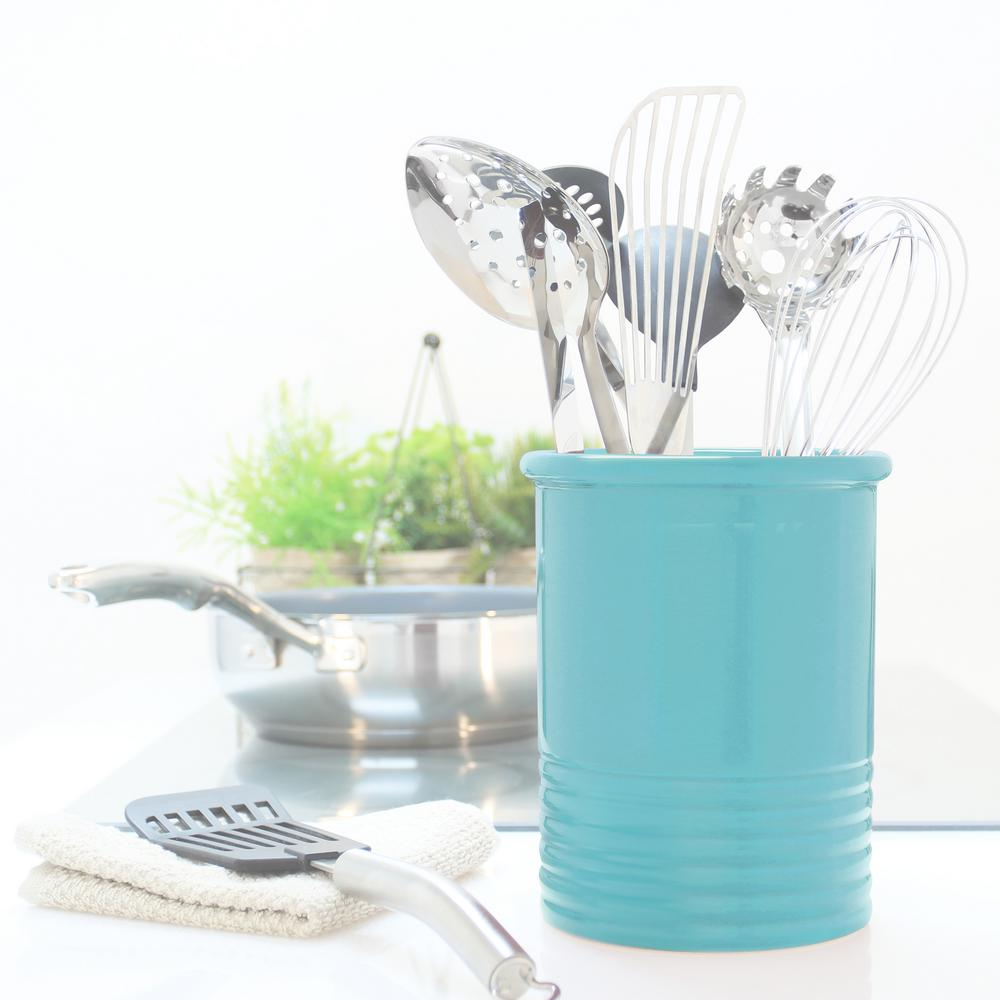 Medium Aqua Ceramic Utensil Crock