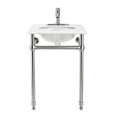 Arlington 24 in. W x 19.6 in. D Bath Vanity Console in Brushed Nickel with Engineered Marble Top with White Basin