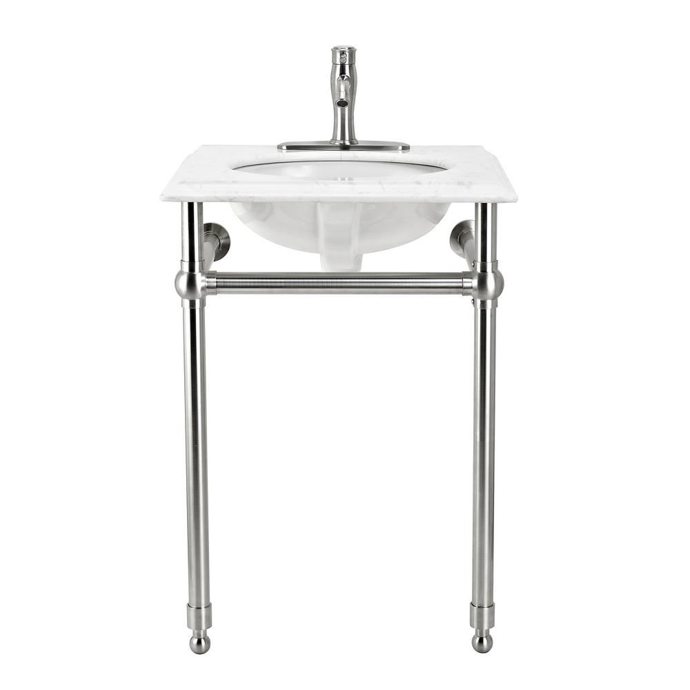 Decor Living Arlington 24 In W X 19 6 D Bath Vanity Console Brushed Nickel With Engineered Marble Top White Basin