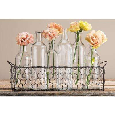 6-Piece Bottle Vase in Chicken Wire Caddy
