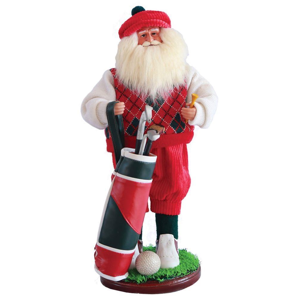 18 in. Golfer Santa with Golf Bag