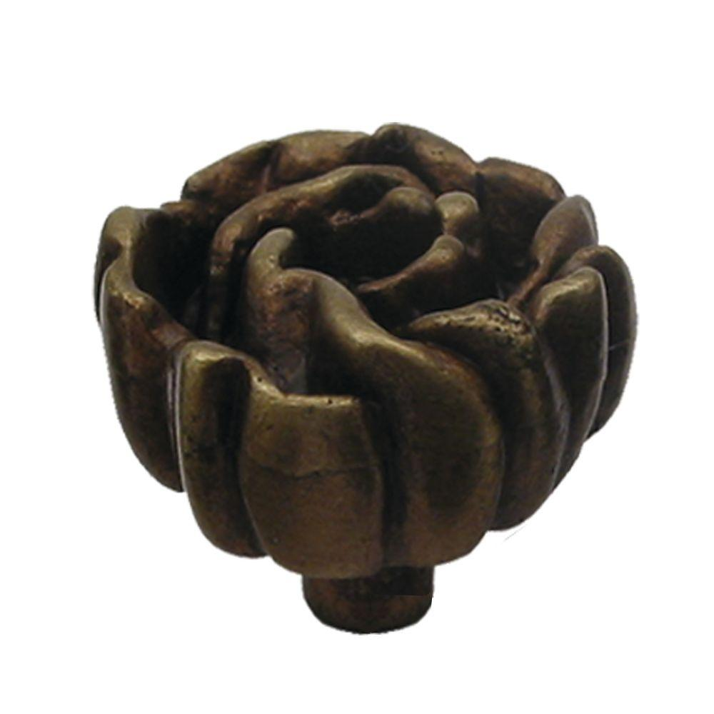 1-1/4 in. Antique Brass Rosette Shaped Cabinet Hardware Knob