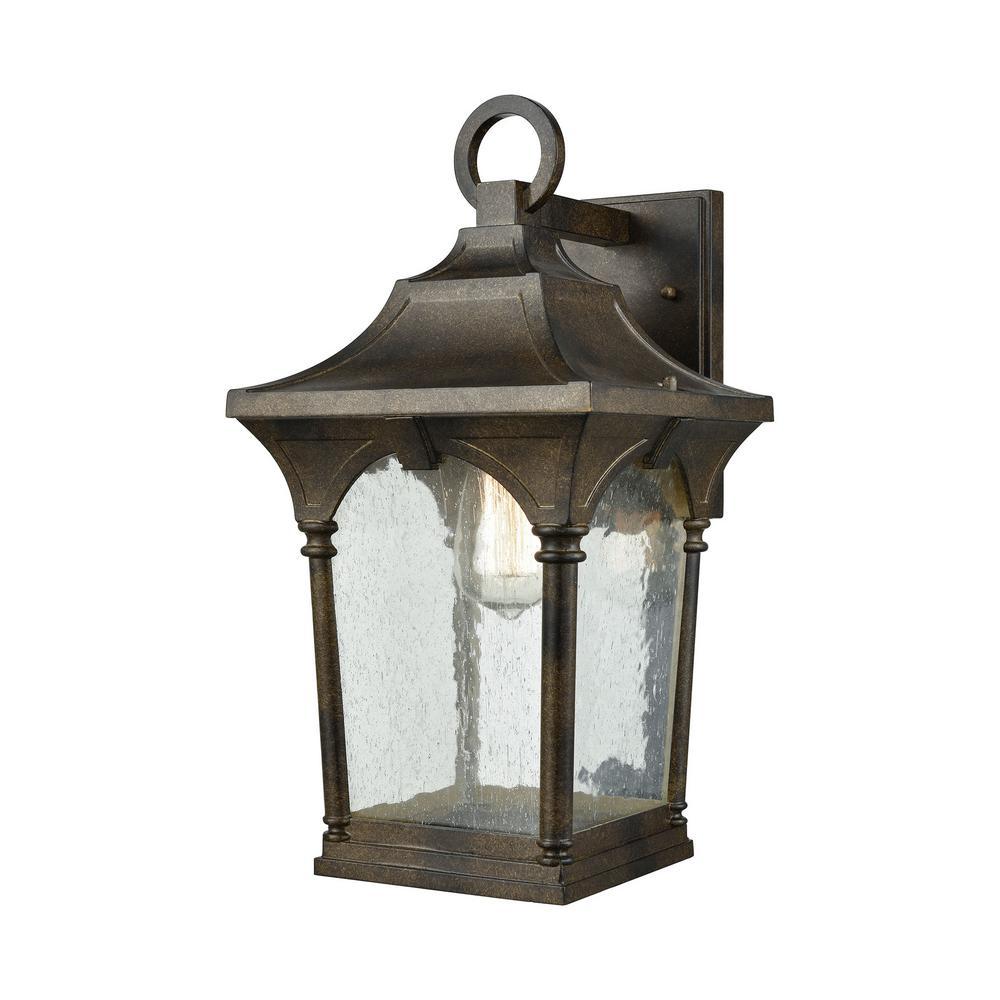 Loringdale Large 1-Light Hazelnut Bronze with Clear Seedy Glass Outdoor Wall Mount Lantern